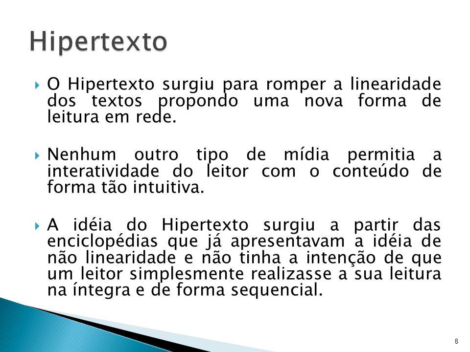 Texto convencional: seqüencial, linear Ex.: livros, jornal, revistas...