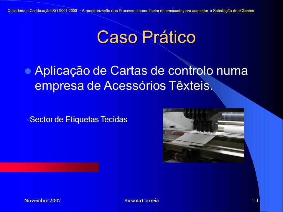 Novembro 2007Susana Correia11 Caso Prático Aplicação de Cartas de controlo numa empresa de Acessórios Têxteis. Sector de Etiquetas Tecidas Qualidade e