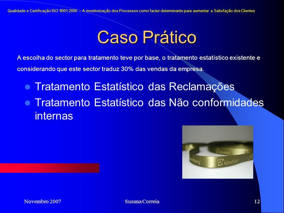 Novembro 2007Susana Correia12 Caso Prático Tratamento Estatístico das Reclamações Tratamento Estatístico das Não conformidades internas Qualidade e Ce