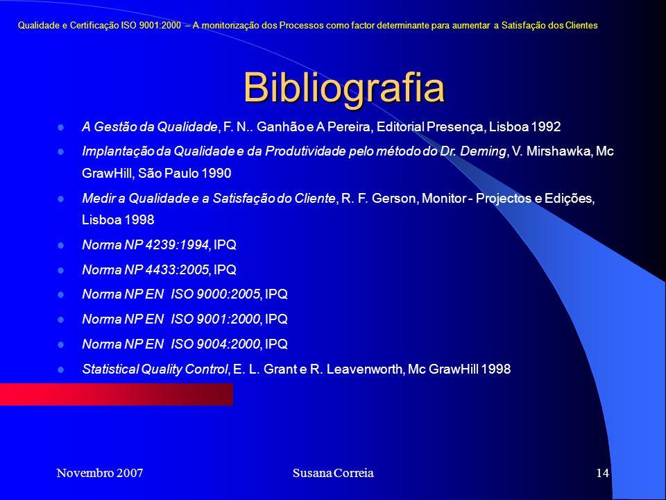 Novembro 2007Susana Correia14 Bibliografia A Gestão da Qualidade, F. N.. Ganhão e A Pereira, Editorial Presença, Lisboa 1992 Implantação da Qualidade