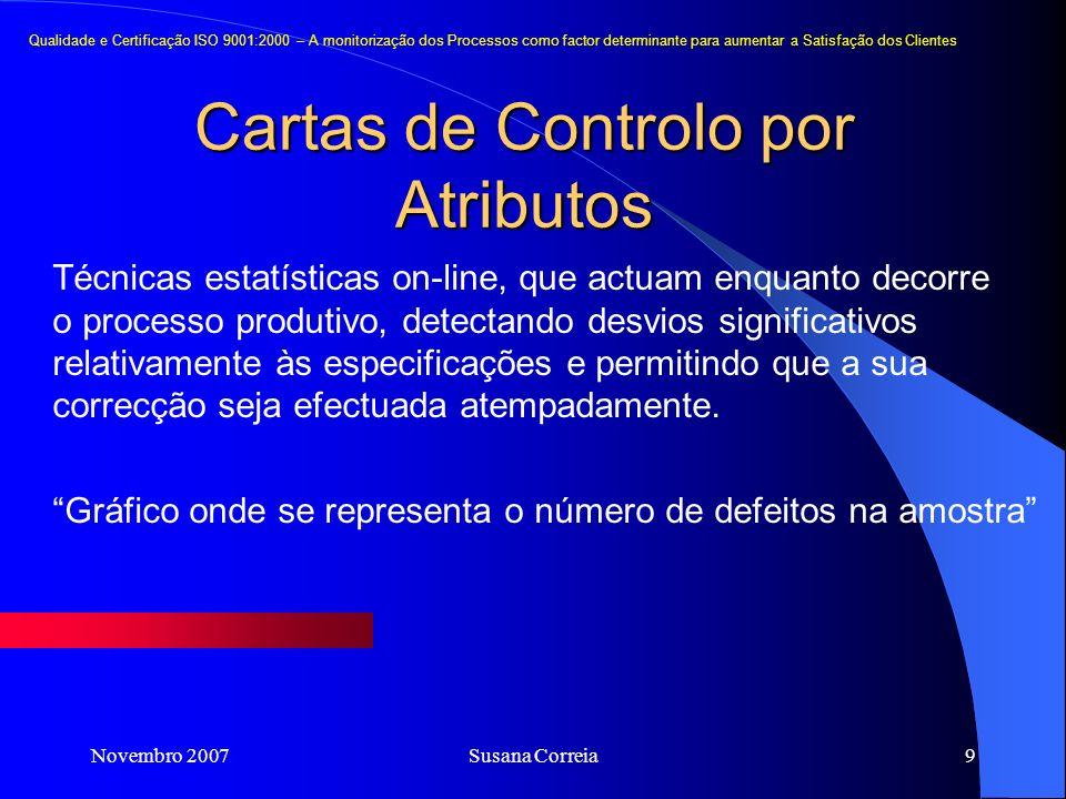 Novembro 2007Susana Correia9 Cartas de Controlo por Atributos Qualidade e Certificação ISO 9001:2000 – A monitorização dos Processos como factor deter