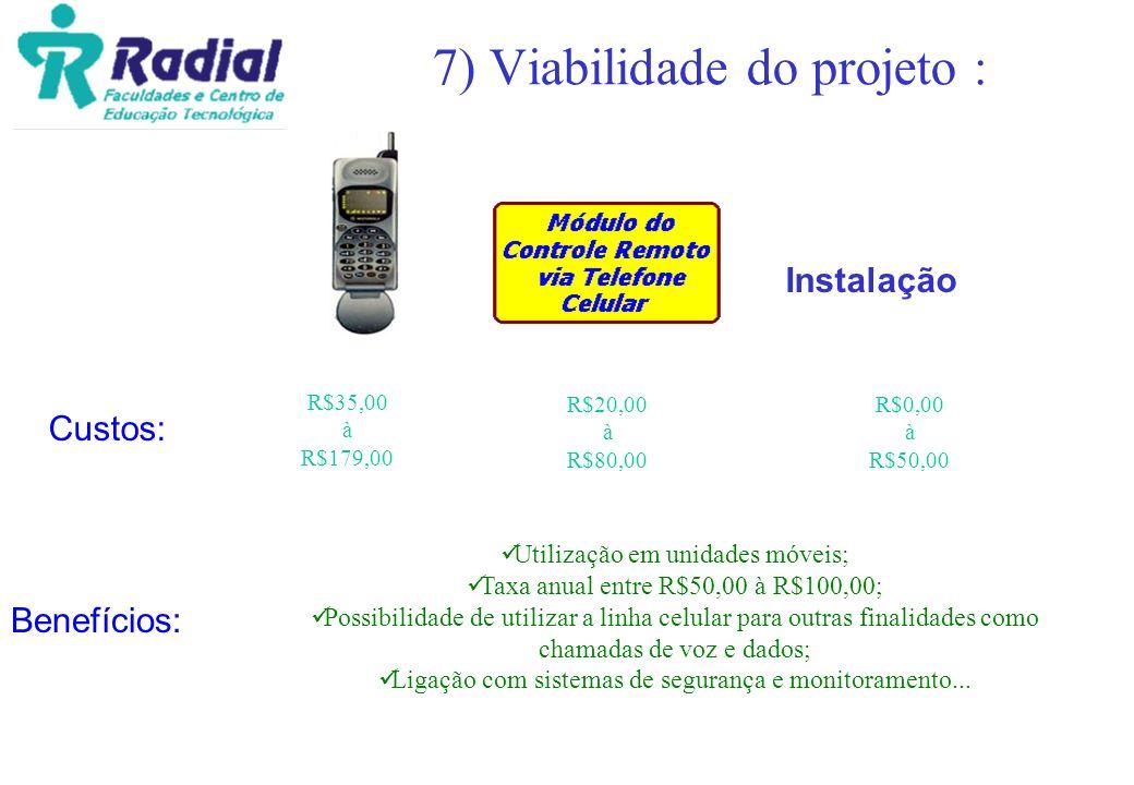 7) Viabilidade do projeto : Custos: Benefícios: Instalação R$35,00 à R$179,00 R$20,00 à R$80,00 R$0,00 à R$50,00 Utilização em unidades móveis; Taxa a