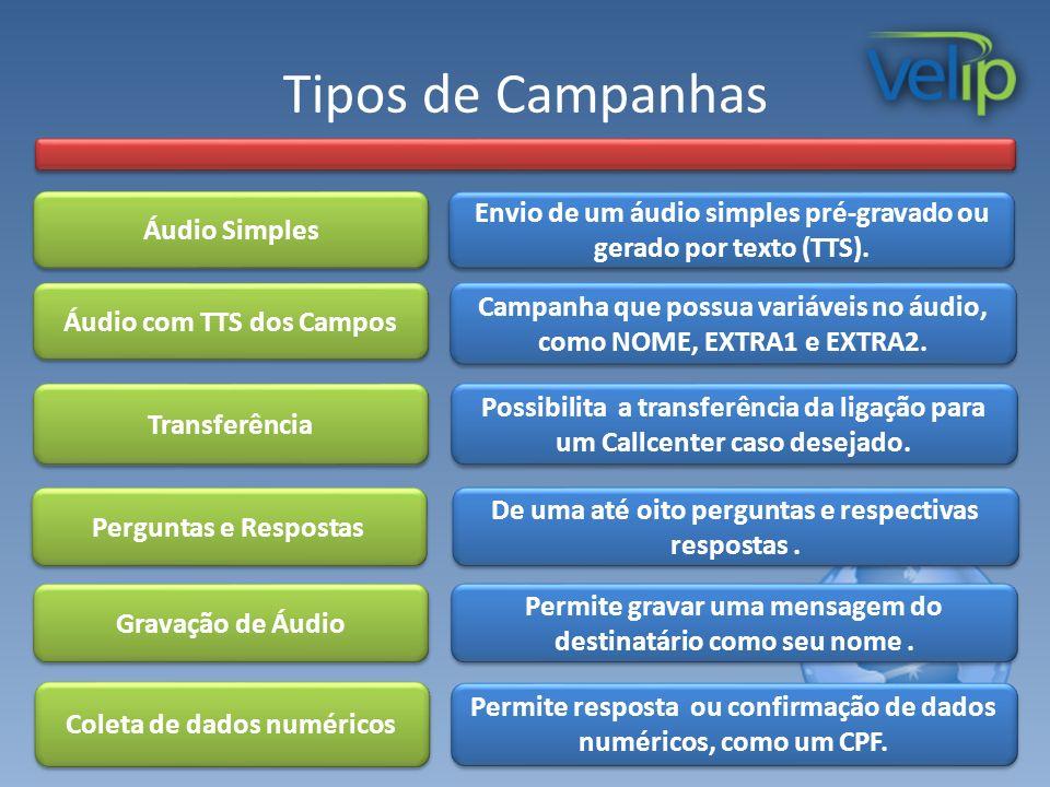Tipos de Campanhas Áudio Simples Transferência Campanha que possua variáveis no áudio, como NOME, EXTRA1 e EXTRA2. Possibilita a transferência da liga