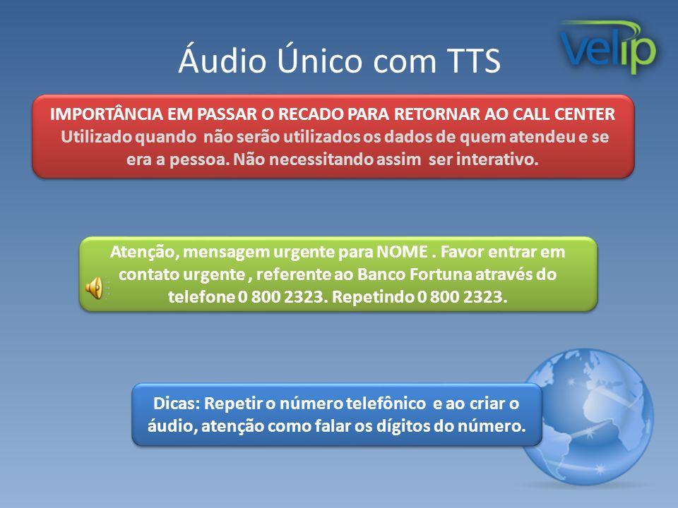 Áudio Único com TTS IMPORTÂNCIA EM PASSAR O RECADO PARA RETORNAR AO CALL CENTER Utilizado quando não serão utilizados os dados de quem atendeu e se er