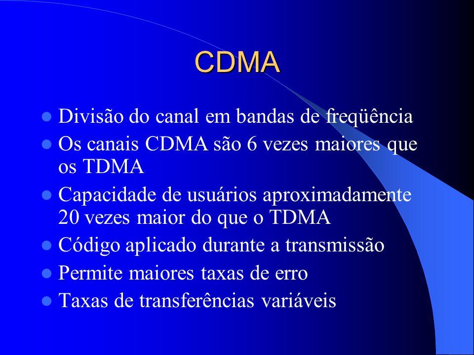 CDMA Divisão do canal em bandas de freqüência Os canais CDMA são 6 vezes maiores que os TDMA Capacidade de usuários aproximadamente 20 vezes maior do que o TDMA Código aplicado durante a transmissão Permite maiores taxas de erro Taxas de transferências variáveis