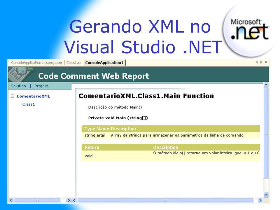 Gerando XML no Visual Studio.NET