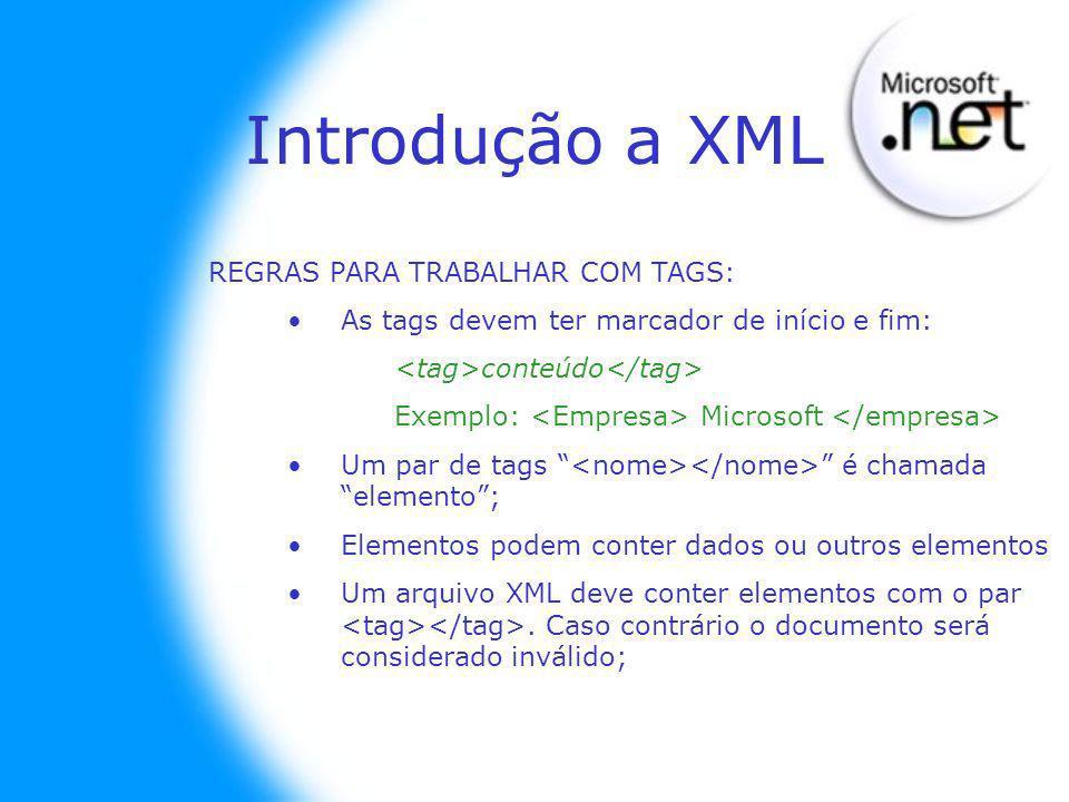 REGRAS PARA TRABALHAR COM TAGS: As tags devem ter marcador de início e fim: conteúdo Exemplo: Microsoft Um par de tags é chamada elemento; Elementos p