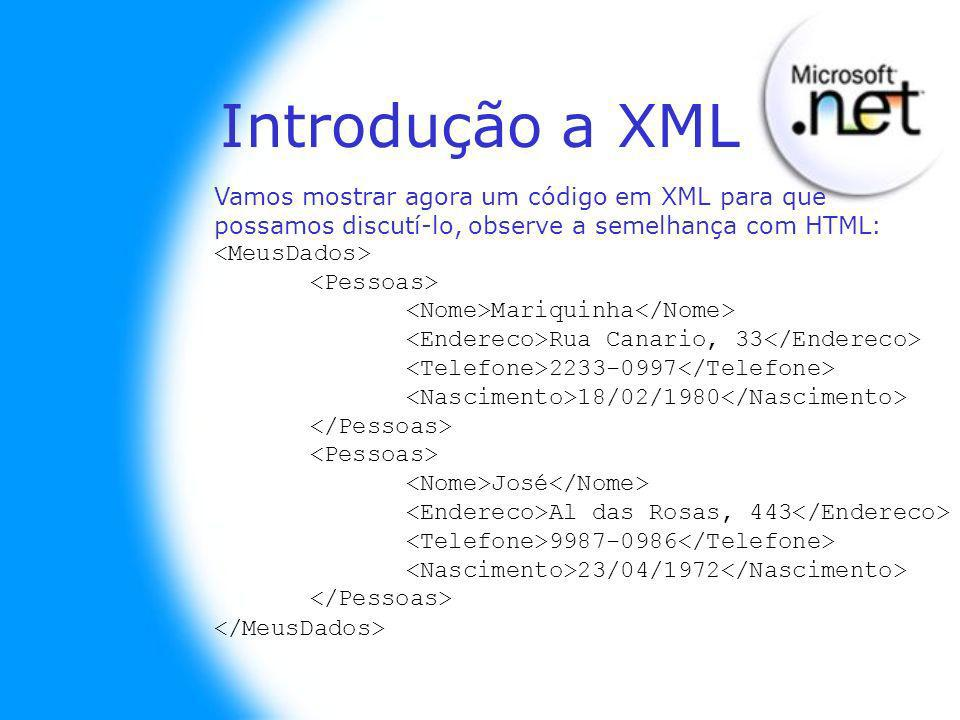 Introdução a XML Vamos mostrar agora um código em XML para que possamos discutí-lo, observe a semelhança com HTML: Mariquinha Rua Canario, 33 2233-0997 18/02/1980 José Al das Rosas, 443 9987-0986 23/04/1972