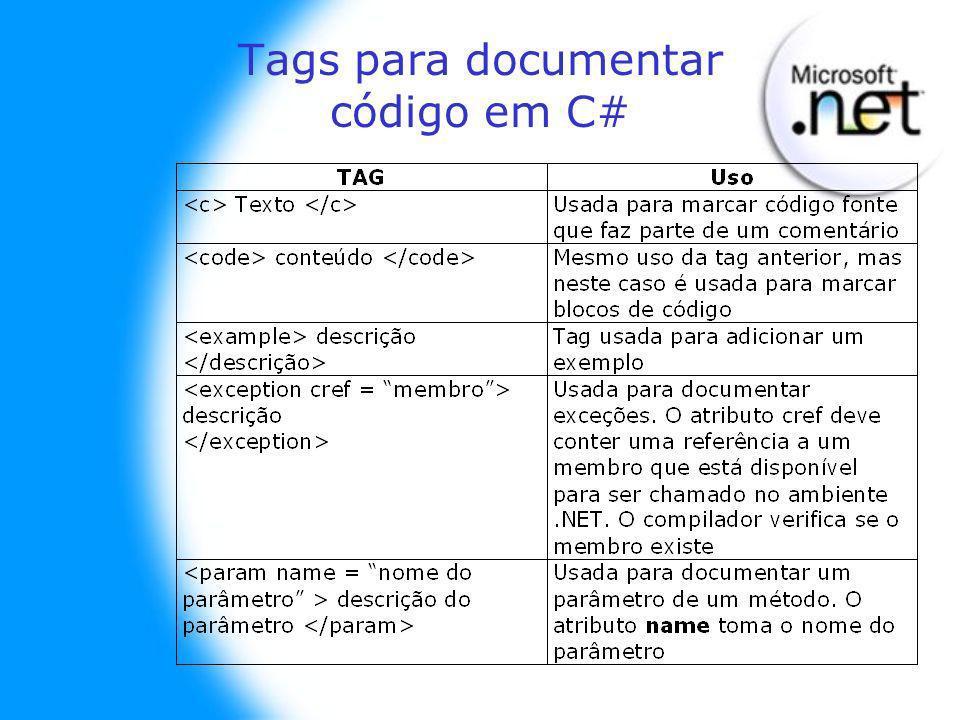 Tags para documentar código em C#