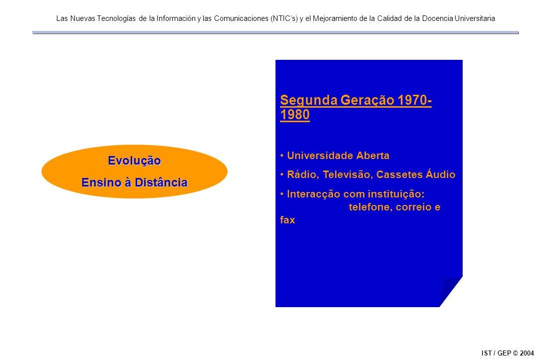 Las Nuevas Tecnologías de la Información y las Comunicaciones (NTICs) y el Mejoramiento de la Calidad de la Docencia Universitaria IST / GEP © 2004Evolução Ensino à Distância Terceira Geração 1980-1990 Cassetes Vídeo Televisão Comunicações por Satélite / Cabo Início da utilização do computador pessoal