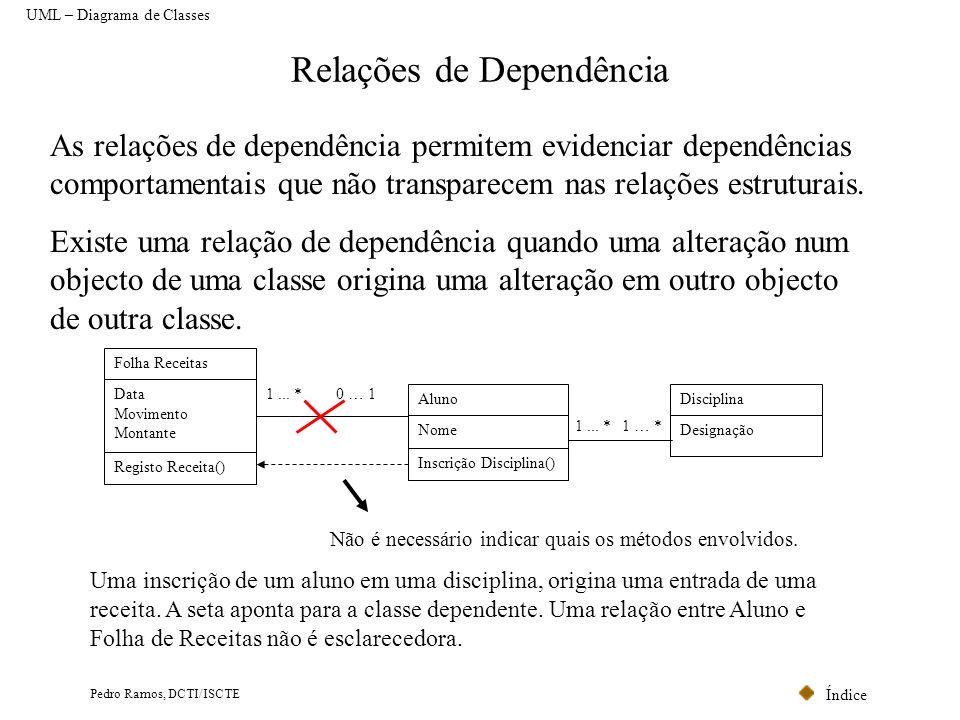 Índice Pedro Ramos, DCTI/ISCTE Relações de Dependência UML – Diagrama de Classes As relações de dependência permitem evidenciar dependências comportam
