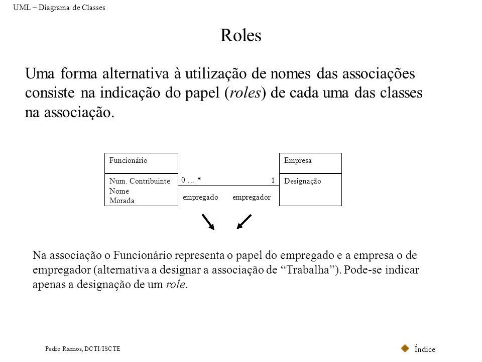 Índice Pedro Ramos, DCTI/ISCTE Roles UML – Diagrama de Classes Uma forma alternativa à utilização de nomes das associações consiste na indicação do pa