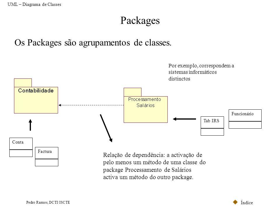 Índice Pedro Ramos, DCTI/ISCTE Packages Conta UML – Diagrama de Classes Os Packages são agrupamentos de classes. Factura Tab IRS Funcionário Por exemp