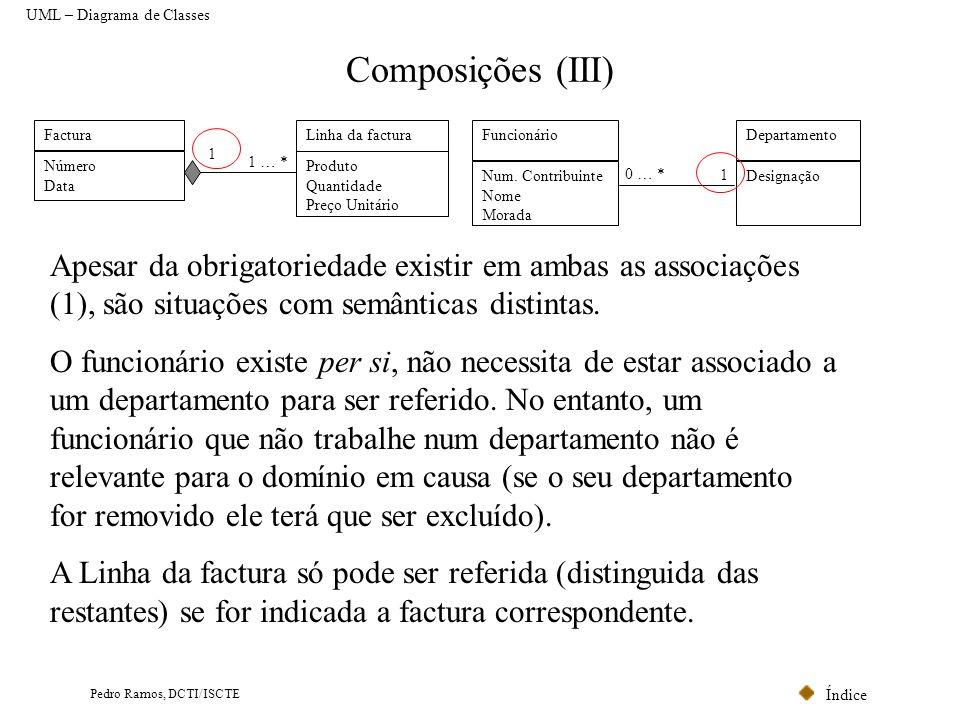 Índice Pedro Ramos, DCTI/ISCTE Composições (III) Factura Número Data Linha da factura Produto Quantidade Preço Unitário 1 … * 1 Funcionário Num. Contr