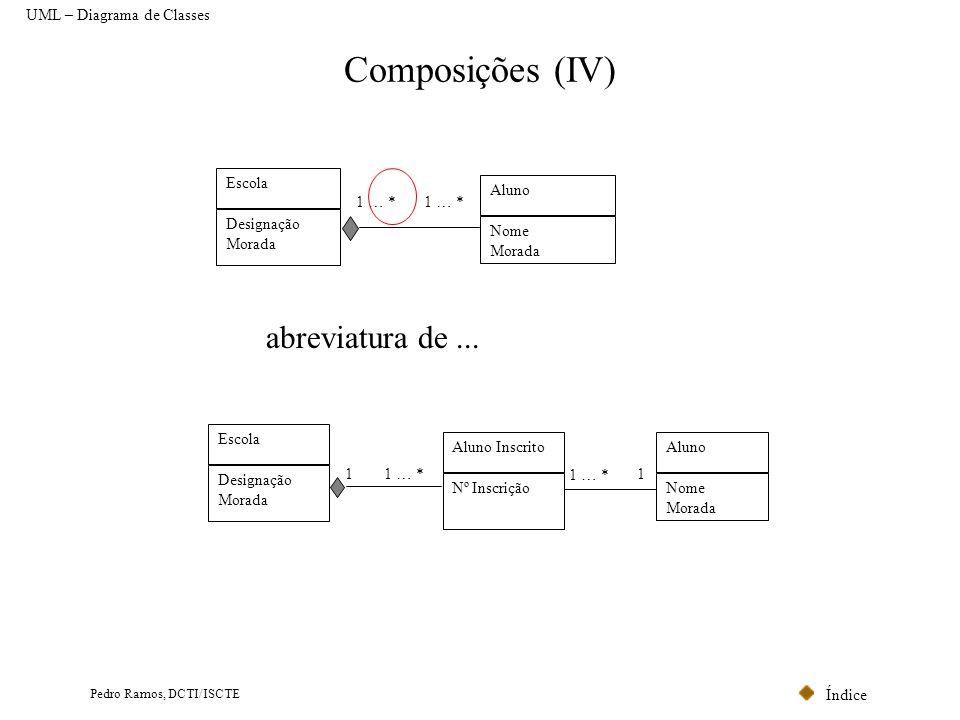 Índice Pedro Ramos, DCTI/ISCTE Composições (IV) Escola Designação Morada Aluno Nome Morada 1 … * Escola Designação Morada 1 … *1 Aluno Nome Morada 1 …