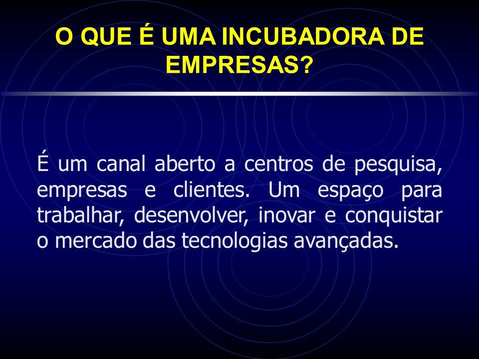O QUE É UMA INCUBADORA DE EMPRESAS.É um canal aberto a centros de pesquisa, empresas e clientes.