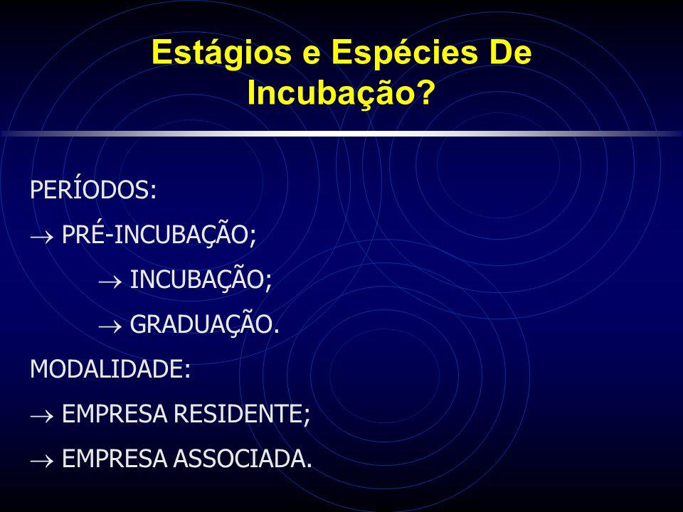 Estágios e Espécies De Incubação.PERÍODOS: PRÉ-INCUBAÇÃO; INCUBAÇÃO; GRADUAÇÃO.