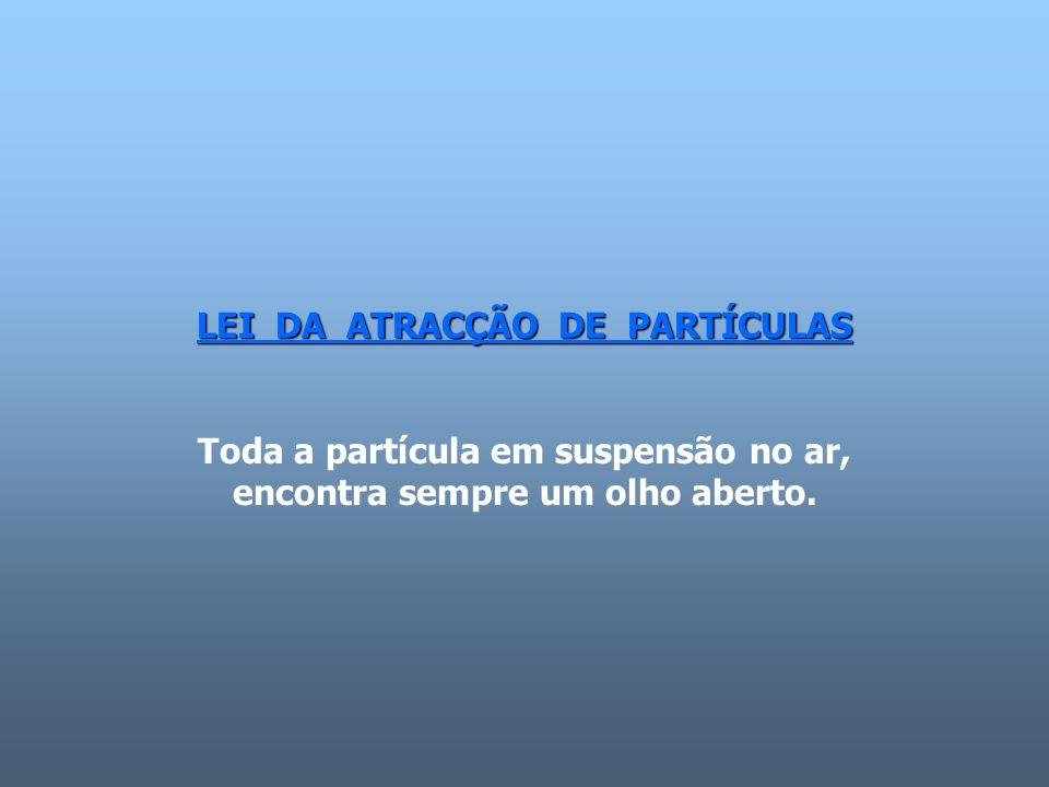 LEI DA ATRACÇÃO DE PARTÍCULAS Toda a partícula em suspensão no ar, encontra sempre um olho aberto.
