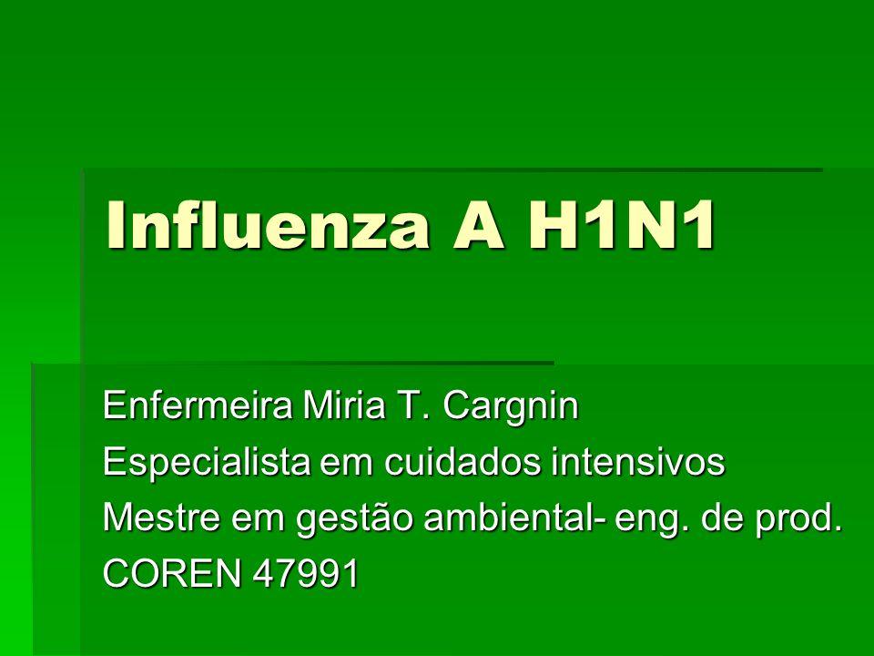 Influenza A H1N1 Enfermeira Miria T. Cargnin Especialista em cuidados intensivos Mestre em gestão ambiental- eng. de prod. COREN 47991