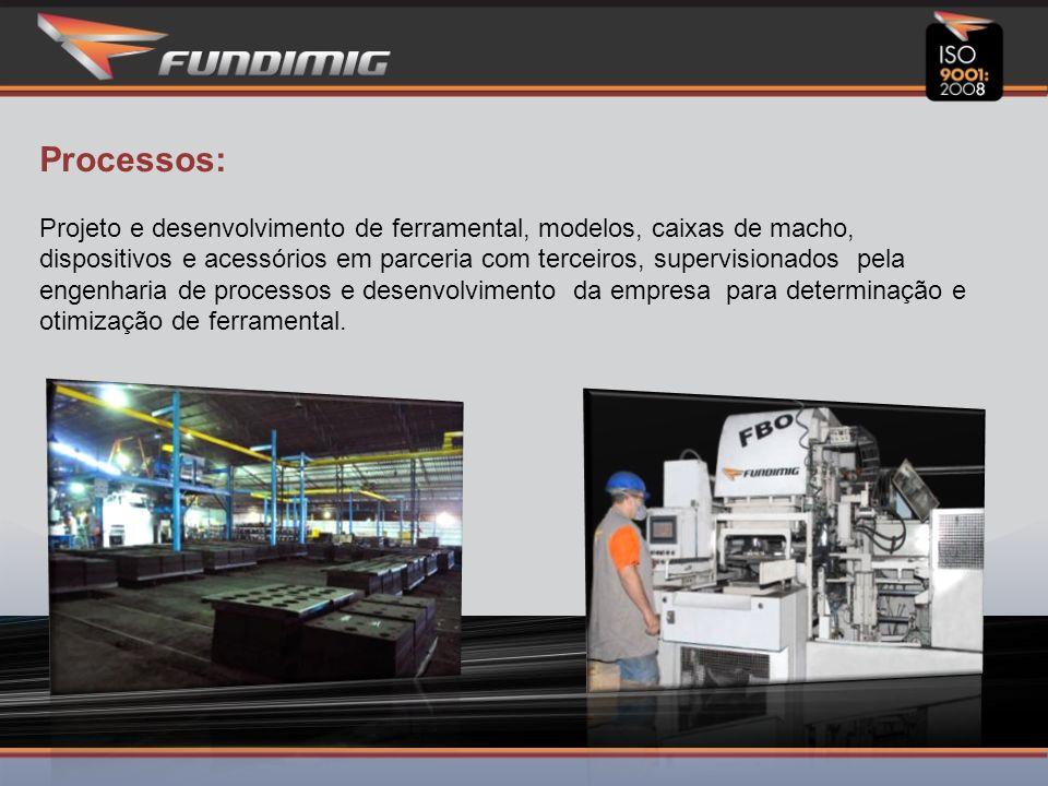 Processos: Projeto e desenvolvimento de ferramental, modelos, caixas de macho, dispositivos e acessórios em parceria com terceiros, supervisionados pela engenharia de processos e desenvolvimento da empresa para determinação e otimização de ferramental.
