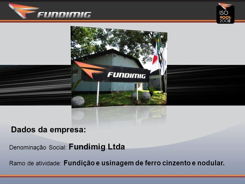 Dados da empresa: Denominação Social: Fundimig Ltda Ramo de atividade: Fundição e usinagem de ferro cinzento e nodular.