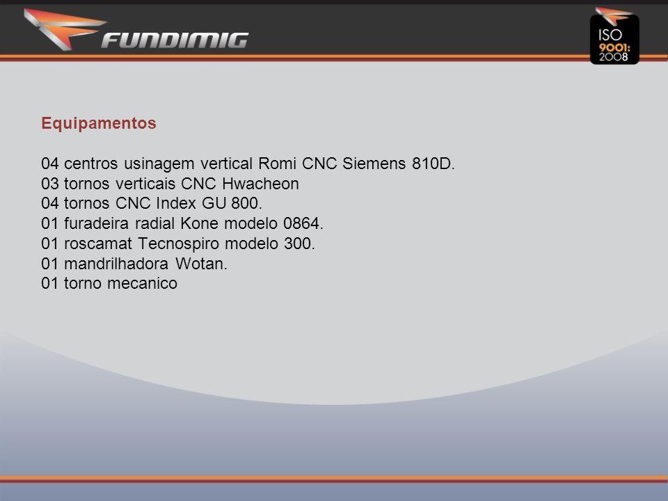 Equipamentos 04 centros usinagem vertical Romi CNC Siemens 810D.