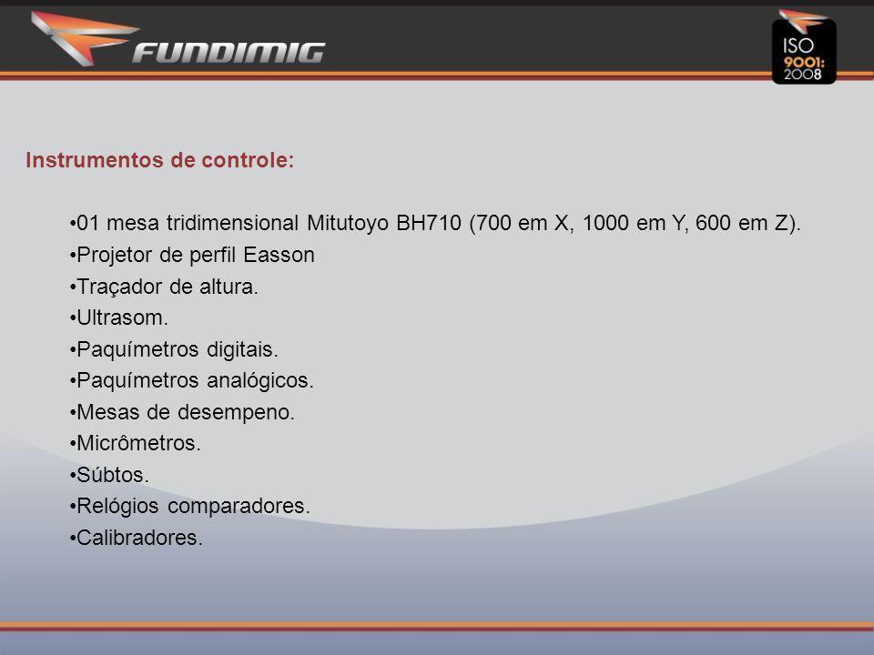 Instrumentos de controle: 01 mesa tridimensional Mitutoyo BH710 (700 em X, 1000 em Y, 600 em Z).