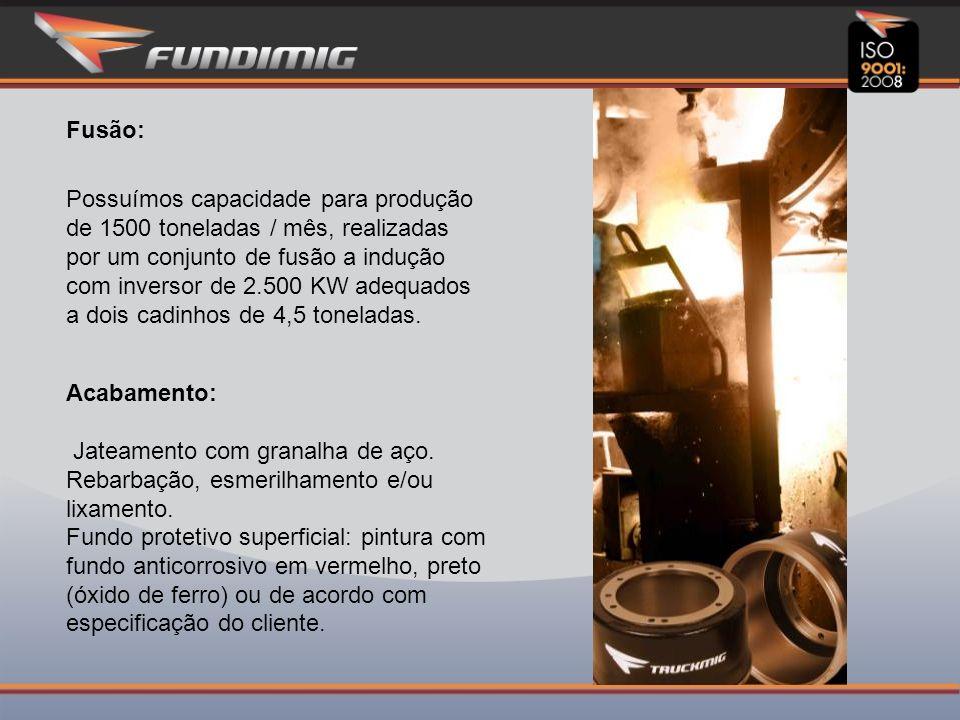 Fusão: Possuímos capacidade para produção de 1500 toneladas / mês, realizadas por um conjunto de fusão a indução com inversor de 2.500 KW adequados a dois cadinhos de 4,5 toneladas.