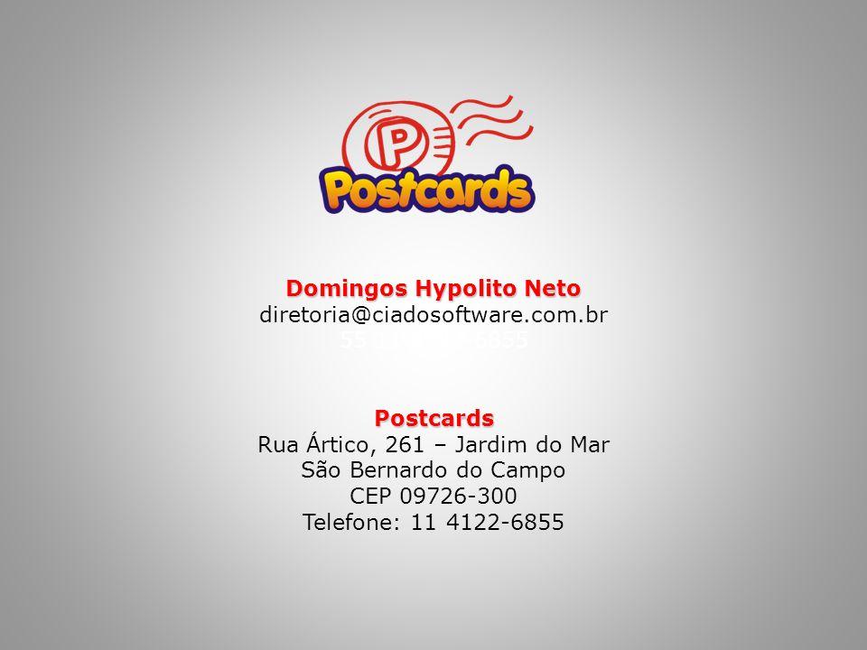 Domingos Hypolito Neto diretoria@ciadosoftware.com.br 55 11 4122-6855Postcards Rua Ártico, 261 – Jardim do Mar São Bernardo do Campo CEP 09726-300 Telefone: 11 4122-6855
