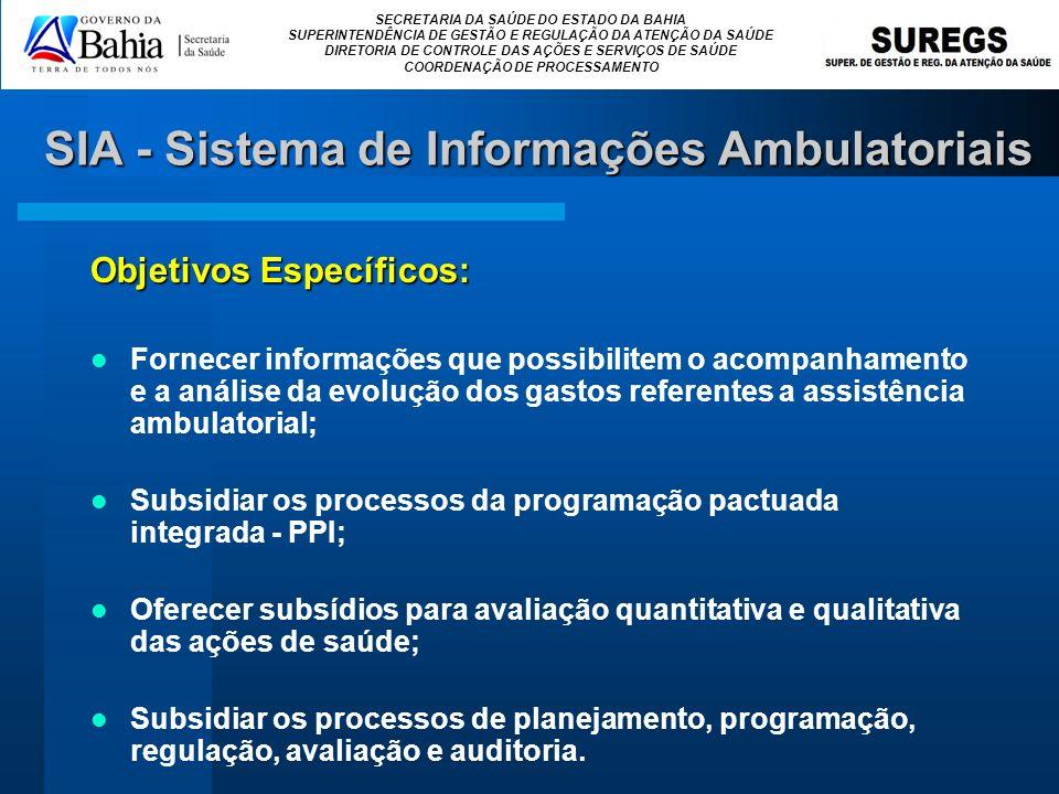 SECRETARIA DA SAÚDE DO ESTADO DA BAHIA SUPERINTENDÊNCIA DE GESTÃO E REGULAÇÃO DA ATENÇÃO DA SAÚDE DIRETORIA DE CONTROLE DAS AÇÕES E SERVIÇOS DE SAÚDE COORDENAÇÃO DE PROCESSAMENTO SIA - Sistema de Informações Ambulatoriais O Sistema de Informações Ambulatoriais - SIA/SUS, é composto por dois aplicativos de captação de dados (BPA e APAC), um aplicativo de Controle da Programação Orçamentária (FPO), um aplicativo que faz a conversão das Bases Cadastrais do CNES (DE-PARA-SIA) e um programa verificador de informações do SIA (VERSIA).