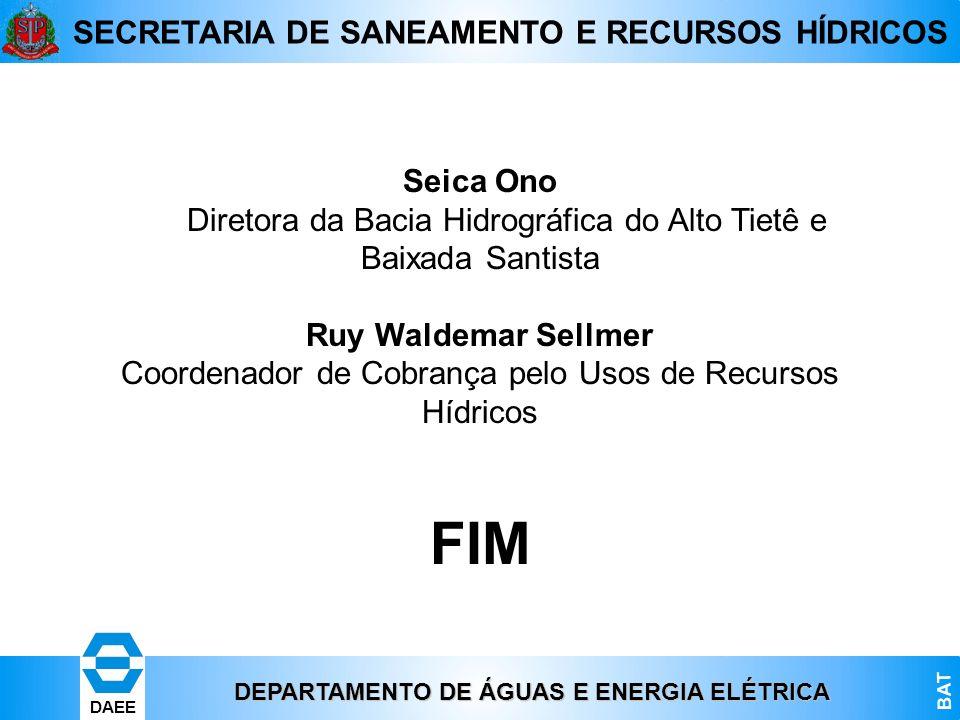 DEPARTAMENTO DE ÁGUAS E ENERGIA ELÉTRICA BAT DAEE SECRETARIA DE SANEAMENTO E RECURSOS HÍDRICOS Seica Ono Diretora da Bacia Hidrográfica do Alto Tietê