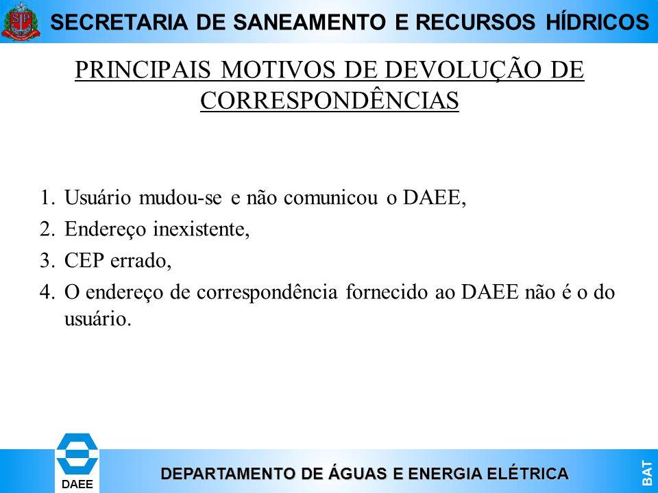DEPARTAMENTO DE ÁGUAS E ENERGIA ELÉTRICA BAT DAEE SECRETARIA DE SANEAMENTO E RECURSOS HÍDRICOS PRINCIPAIS MOTIVOS DE DEVOLUÇÃO DE CORRESPONDÊNCIAS 1.U