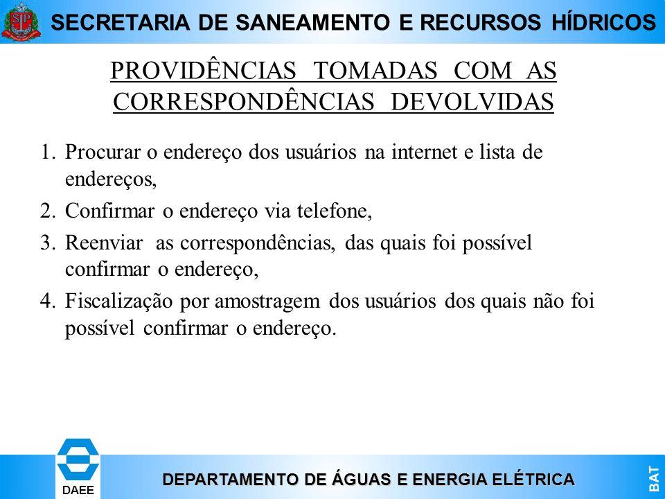 DEPARTAMENTO DE ÁGUAS E ENERGIA ELÉTRICA BAT DAEE SECRETARIA DE SANEAMENTO E RECURSOS HÍDRICOS PROVIDÊNCIAS TOMADAS COM AS CORRESPONDÊNCIAS DEVOLVIDAS