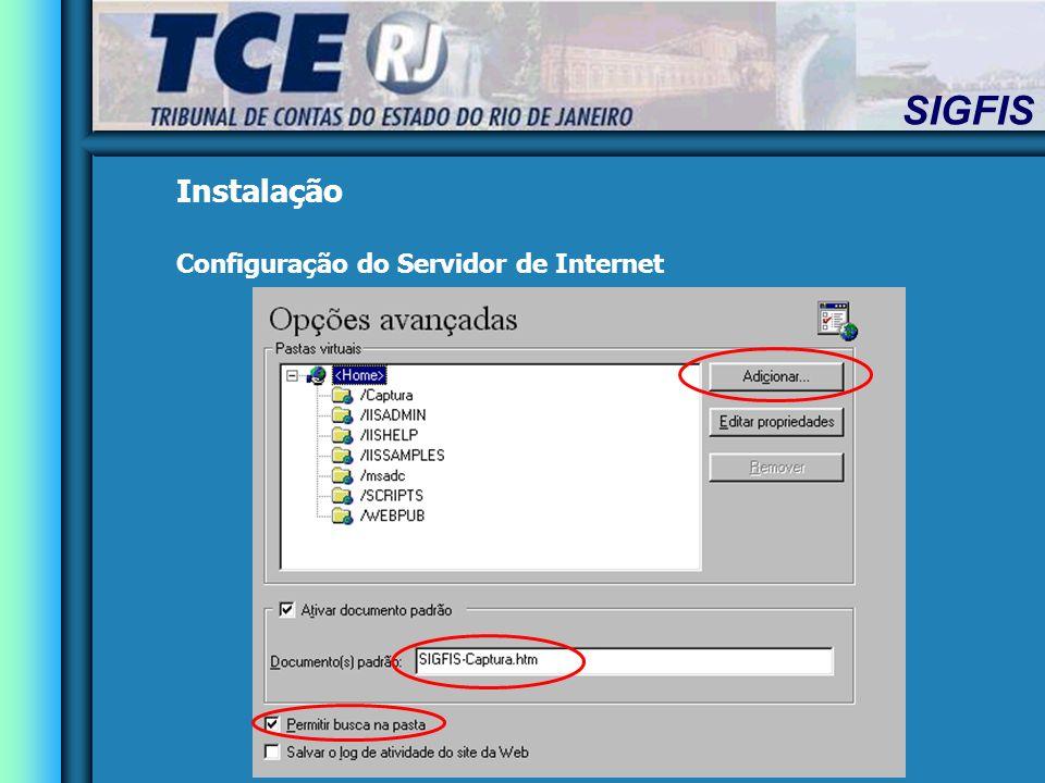 SIGFIS Instalação Configuração do Servidor de Internet