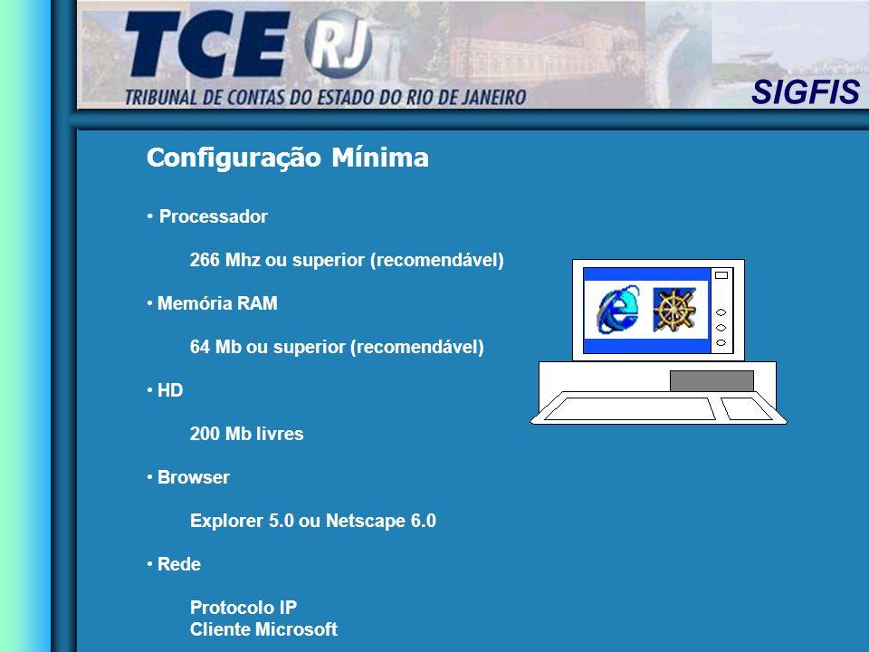 Configuração Mínima Processador 266 Mhz ou superior (recomendável) Memória RAM 64 Mb ou superior (recomendável) HD 200 Mb livres Browser Explorer 5.0 ou Netscape 6.0 Rede Protocolo IP Cliente Microsoft