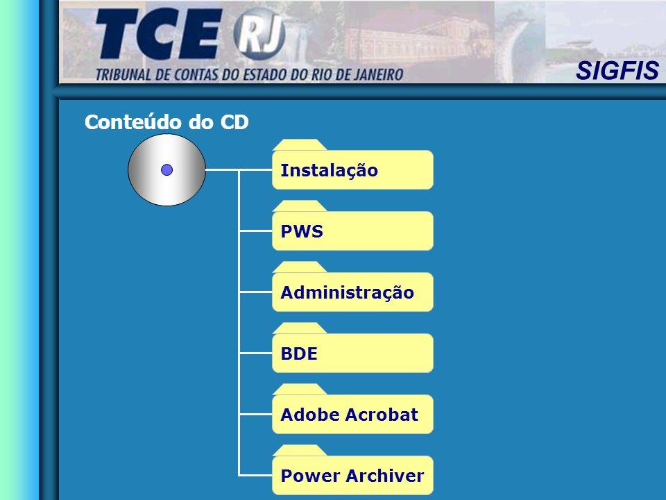 SIGFIS Conteúdo do CD Instalação Administração Adobe Acrobat BDE Power Archiver PWS