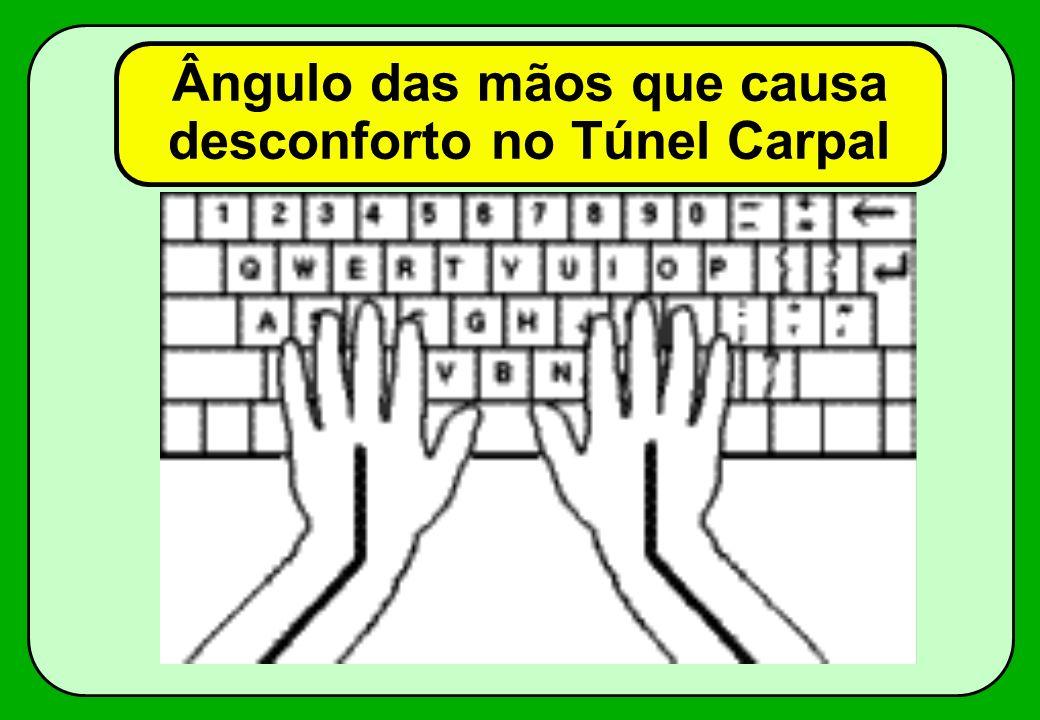 Ângulo das mãos que causa desconforto no Túnel Carpal