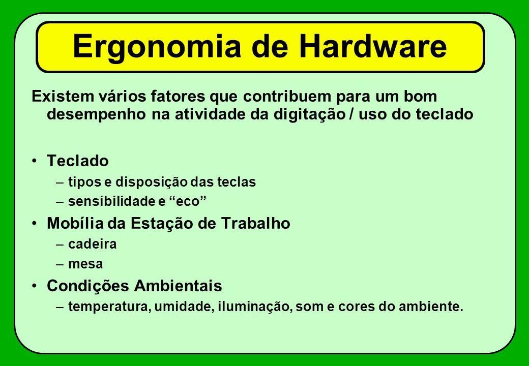 Ergonomia de Hardware Existem vários fatores que contribuem para um bom desempenho na atividade da digitação / uso do teclado Teclado –tipos e disposi