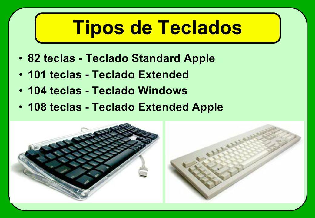 Tipos de Teclados 82 teclas - Teclado Standard Apple 101 teclas - Teclado Extended 104 teclas - Teclado Windows 108 teclas - Teclado Extended Apple