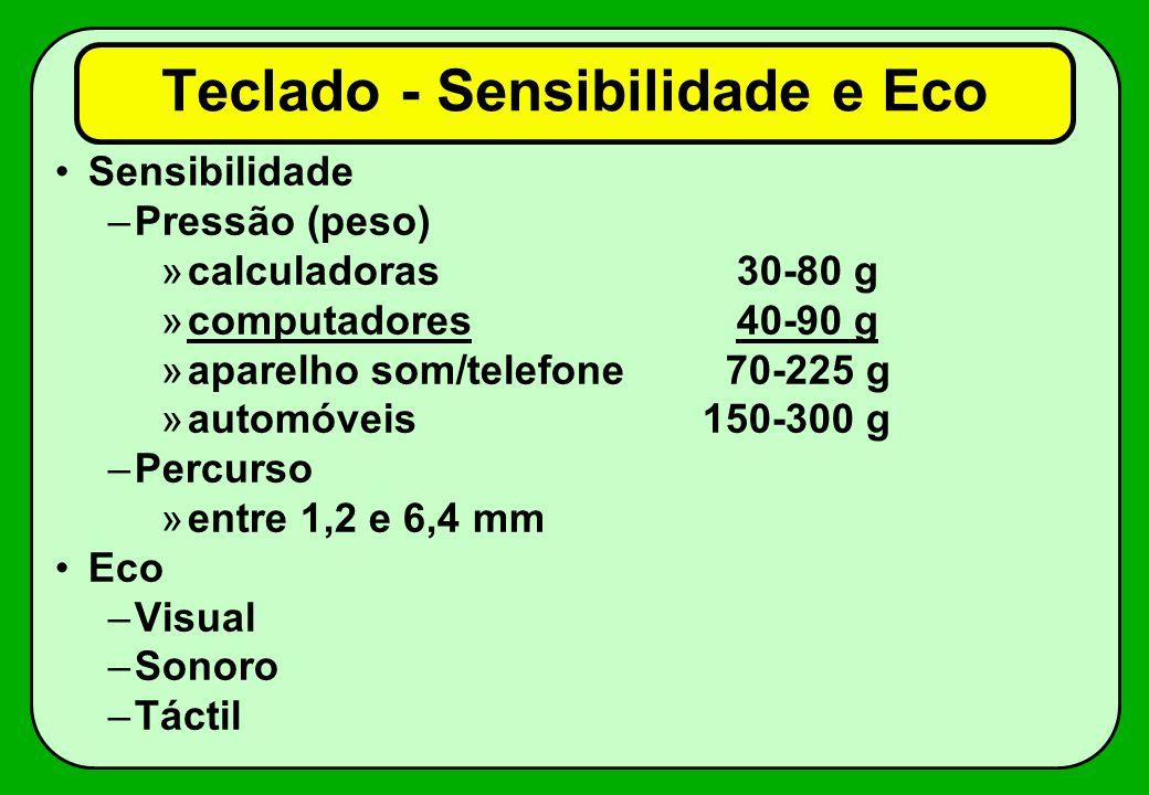 Teclado - Sensibilidade e Eco Sensibilidade –Pressão (peso) »calculadoras 30-80 g »computadores 40-90 g »aparelho som/telefone 70-225 g »automóveis 15
