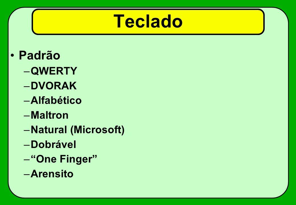 Teclado Padrão –QWERTY –DVORAK –Alfabético –Maltron –Natural (Microsoft) –Dobrável –One Finger –Arensito