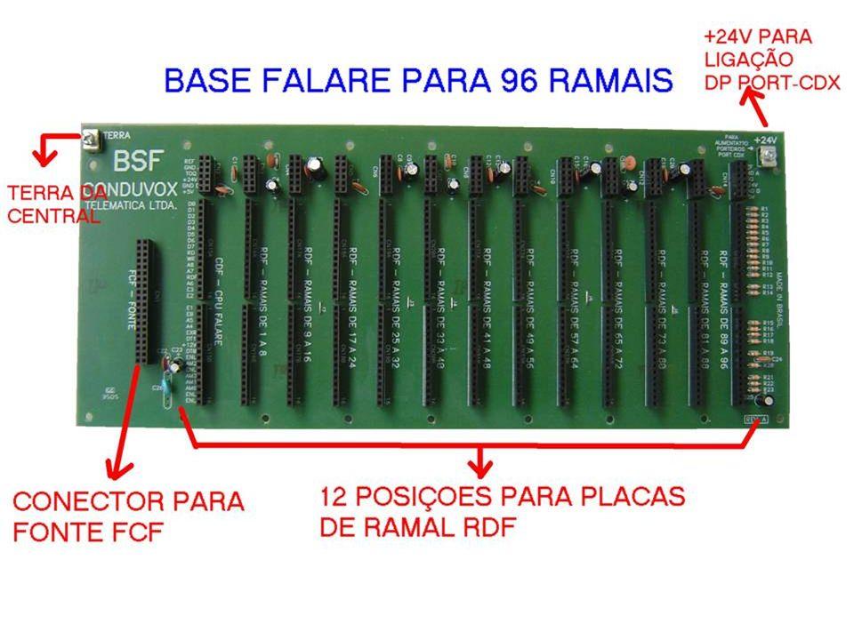 BSF - BASE PARA 12 PLACAS DE RAMAIS TELEFÔNICOS (96 RAMAIS) - PLACA DE FONTE ACOPLADA A BASE (EVITANDO CABOS) FALARE