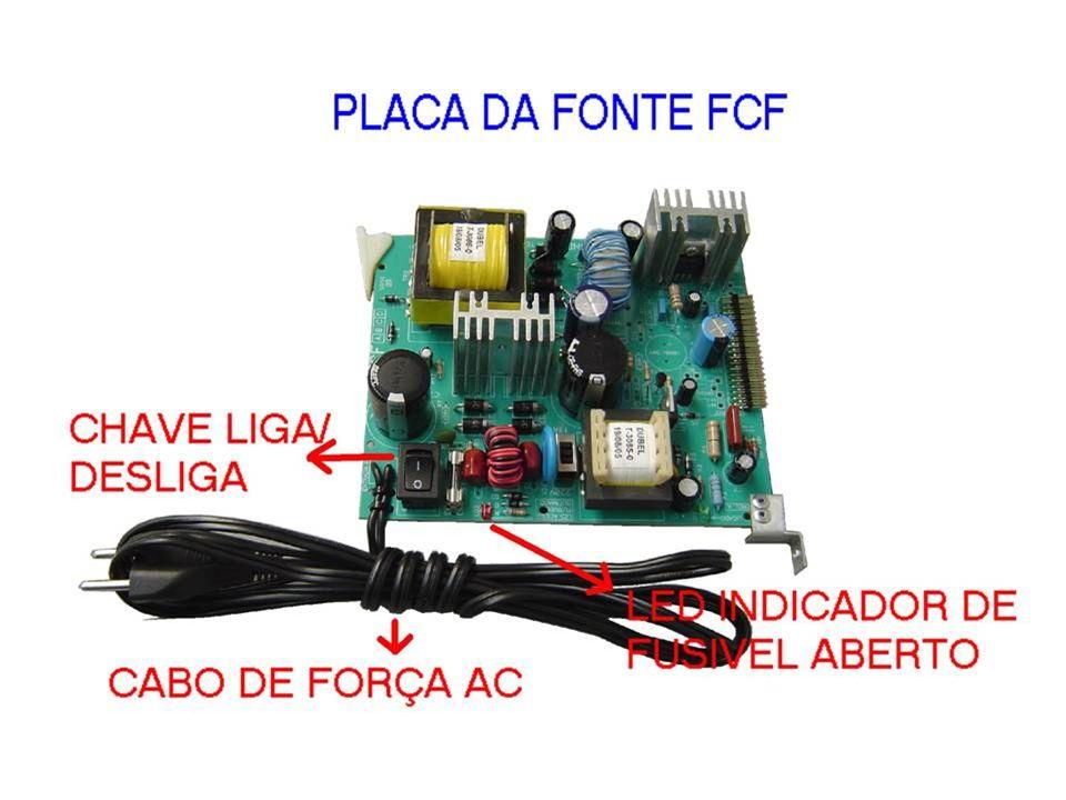 FALARE FCF - FONTE DE ALIMENTAÇÃO PARA O EQUIPAMENTO - FONTE CHAVEADA COM PROTEÇÃO CONTRA CURTO - ENTRADA = 110Vac / 220Vac (COM CHAVE P/ SELEÇÃO) - SAIDAS: +5Vdc / +12Vdc / +24Vdc / +5,6Vdc(REF) - GERADOR DE RING PARA RAMAIS TELEFÔNICOS