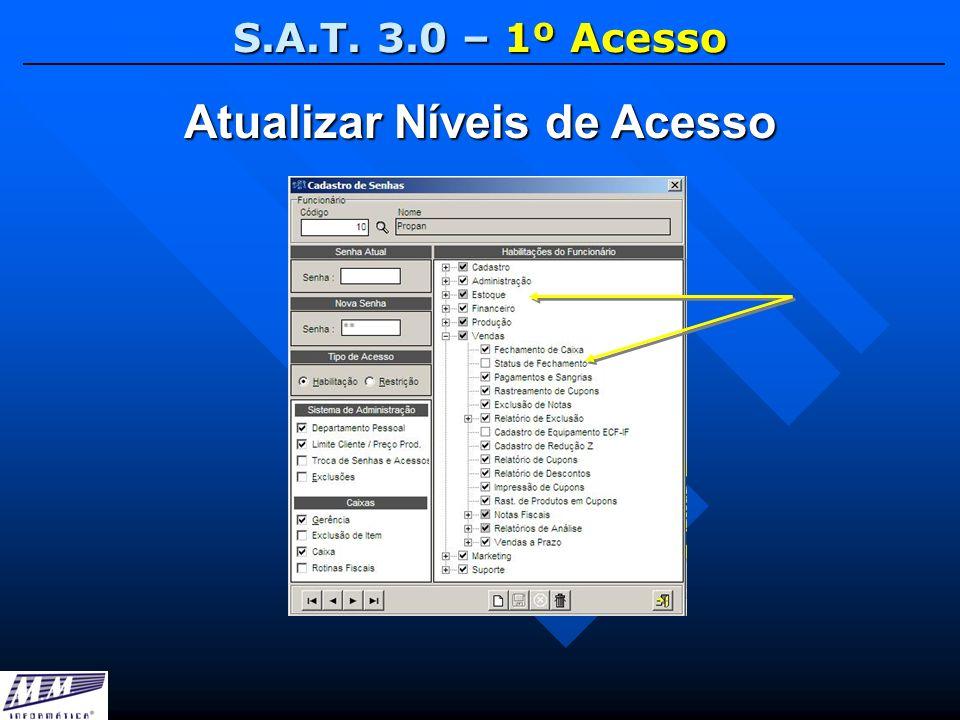 S.A.T. 3.0 – 1º Acesso Atualizar Níveis de Acesso