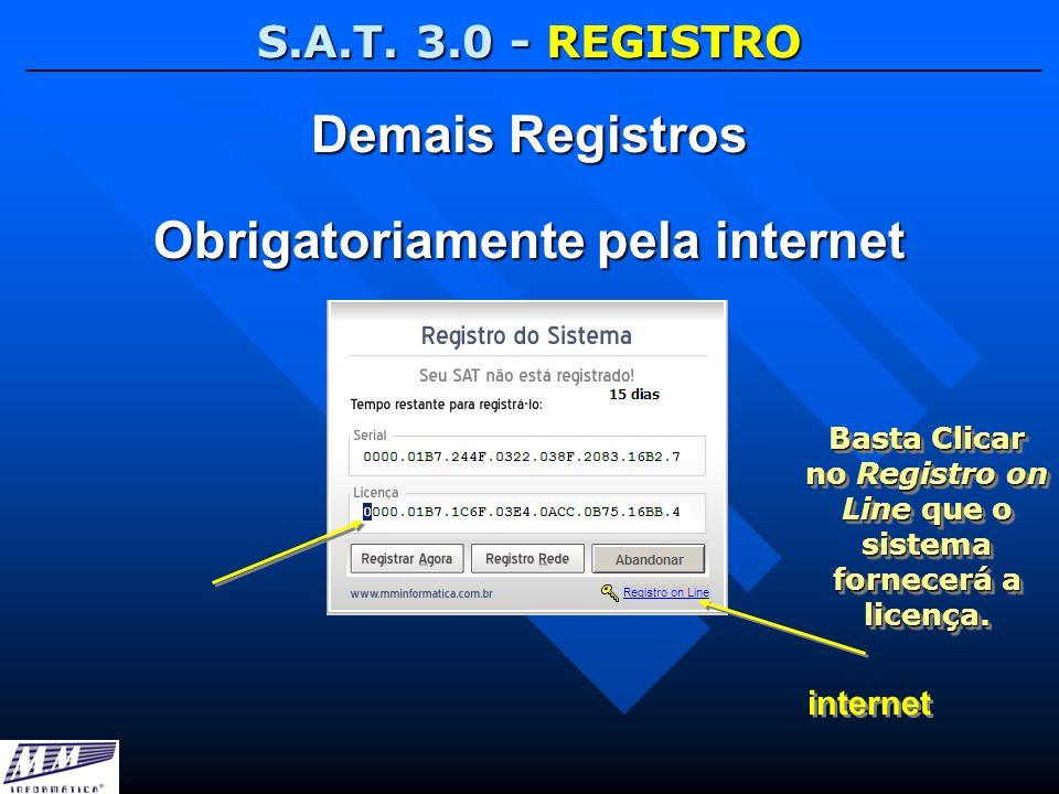 S.A.T. 3.0 - REGISTRO Demais Registros Obrigatoriamente pela internet internet Basta Clicar no Registro on Line que o sistema fornecerá a licença.