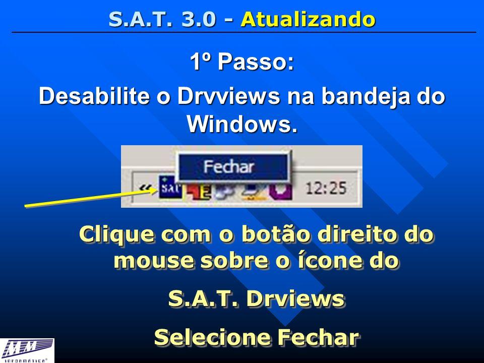 S.A.T. 3.0 - Atualizando 1º Passo: Desabilite o Drvviews na bandeja do Windows. Clique com o botão direito do mouse sobre o ícone do S.A.T. Drviews Se
