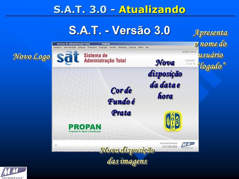 S.A.T. 3.0 - Atualizando S.A.T. - Versão 3.0 Novo Logo Apresenta o nome do usuário logado Nova disposição da data e hora Nova disposição das imagens C