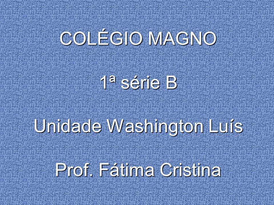 COLÉGIO MAGNO 1ª série B Unidade Washington Luís Prof. Fátima Cristina