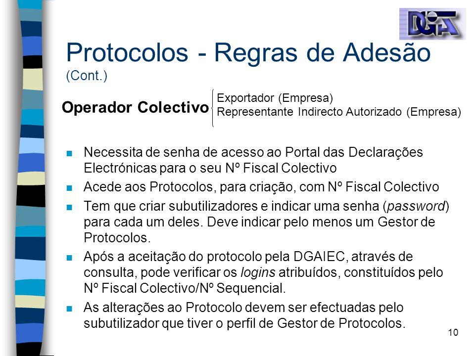 10 n Necessita de senha de acesso ao Portal das Declarações Electrónicas para o seu Nº Fiscal Colectivo n Acede aos Protocolos, para criação, com Nº F