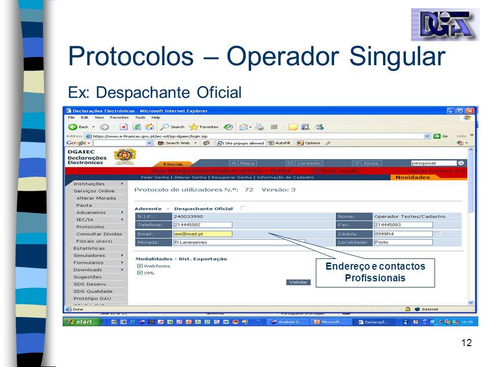 12 Protocolos – Operador Singular Ex: Despachante Oficial Endereço e contactos Profissionais